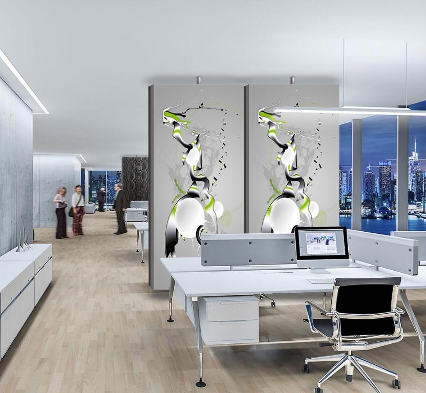 Raumteiler und Akustikabsorber mit individueller Gestaltungsmöglichkeit